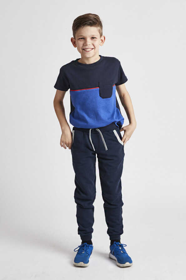 Grass & Air childrens playwear: kids navy and grey joggers