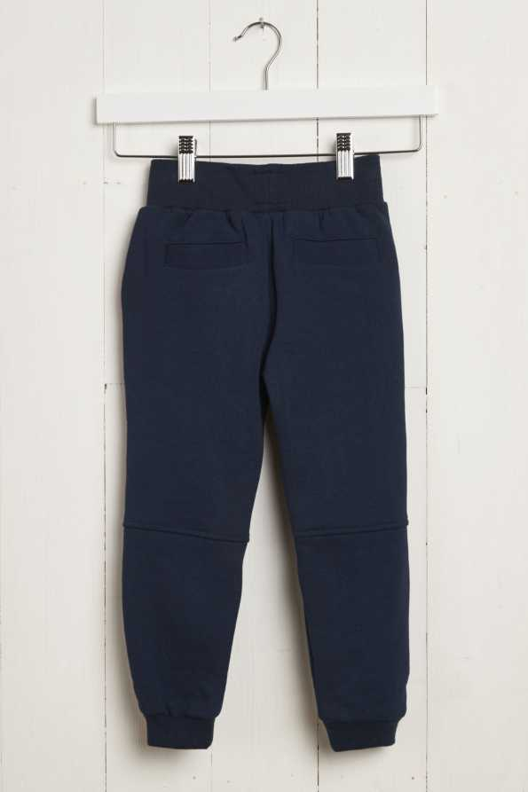 grey and navy kids jogging bottoms: rear garment view