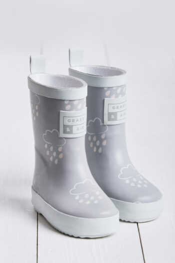 grey colour revealing infant wellies