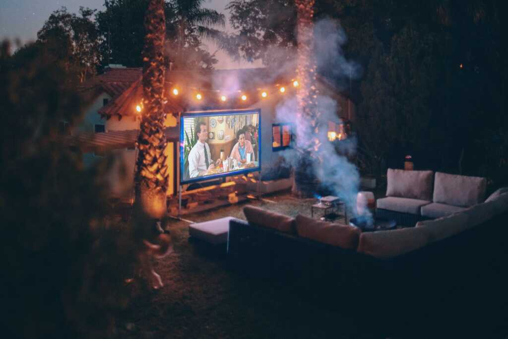 winter backyard cinema