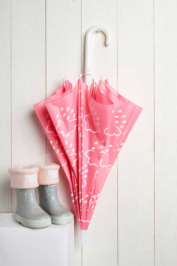 baby pink and grey welly, welly socks, and umbrella gift bundle
